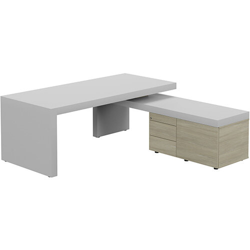 Auttica Light Grey Executive Office Desk with Arctic Oak Right Side Return W2000mm