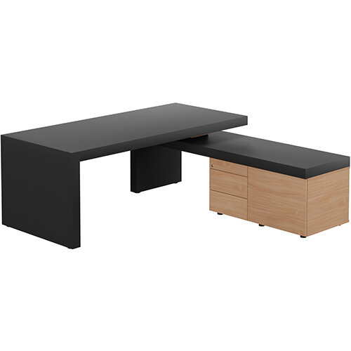 Auttica Anthracite Executive Office Desk with Beech Right Side Return W2000mm
