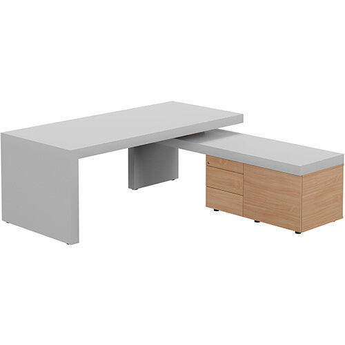 Auttica Light Grey Executive Office Desk with Beech Right Side Return W2000mm
