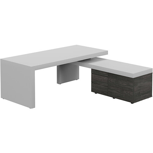 Auttica Light Grey Executive Office Desk with Carbon Walnut Right Side Return W2000mm