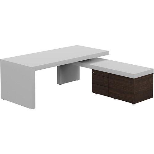 Auttica Light Grey Executive Office Desk with Dark Walnut Right Side Return W2000mm