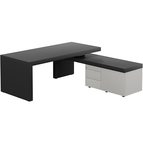 Auttica Anthracite Executive Office Desk with Grey Right Side Return W2000mm