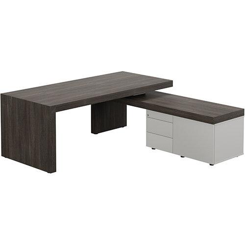 Auttica Dublin Oak Executive Office Desk with Grey Right Side Return W2000mm