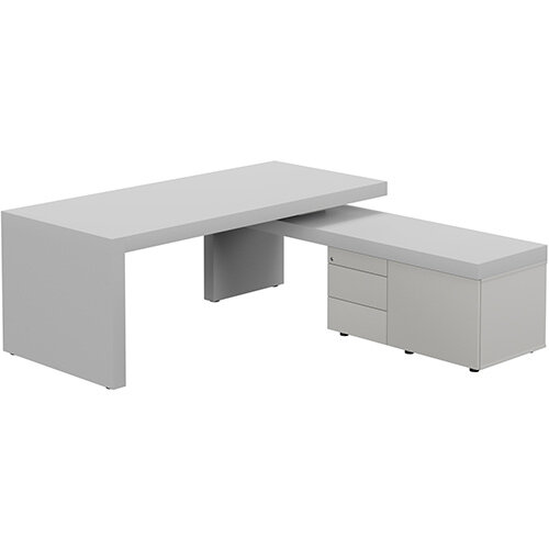 Auttica Light Grey Executive Office Desk with Grey Right Side Return W2000mm