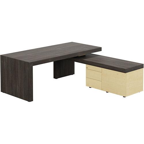 Auttica Dublin Oak Executive Office Desk with Maple Right Side Return W2000mm
