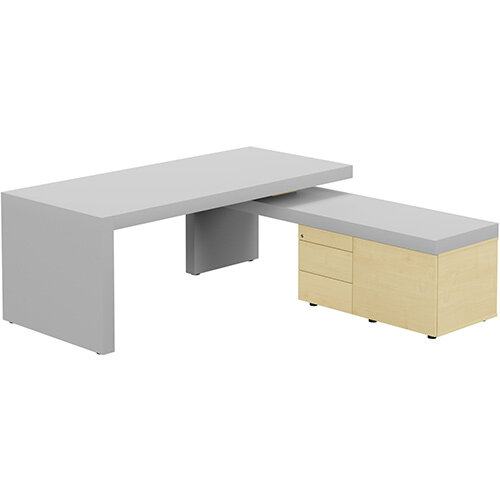 Auttica Light Grey Executive Office Desk with Maple Right Side Return W2000mm