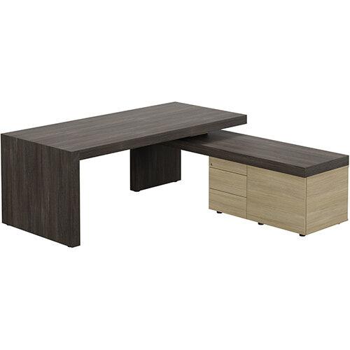 Auttica Dublin Oak Executive Office Desk with Urban Oak Right Side Return W2000mm