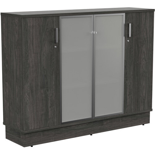 Grand Medium 2 Wooden &2 Frosted Glass Door Credenza Cabinet W1605xD420xH1255mm Carbon Walnut