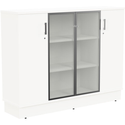 Grand Medium 2 Wooden &2 Frosted Glass Door Credenza Cabinet W1605xD420xH1255mm White