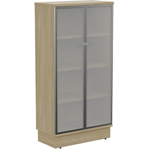 Grand Tall Cupboard With Frosted Glass Doors W805xD420xH1615mm Urban Oak