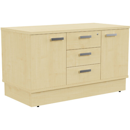 Grand 2 Door &3 Drawer Credenza Unit W1200xD600xH705mm Maple