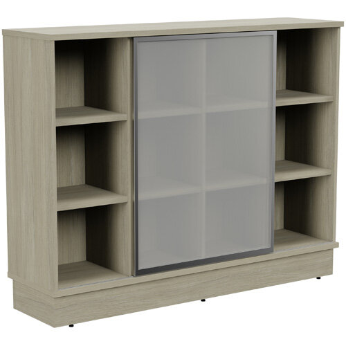 Grand Medium Cube Shelf Bookcase With Sliding Frosted Glass Door W1605xD420xH1255mm Arctic Oak
