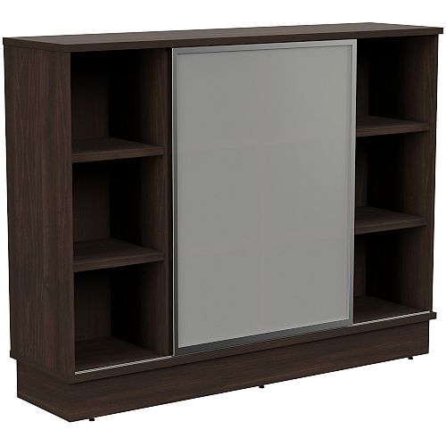 Grand Medium Cube Shelf Bookcase With Sliding Frosted Glass Door W1605xD420xH1255mm Dark Walnut