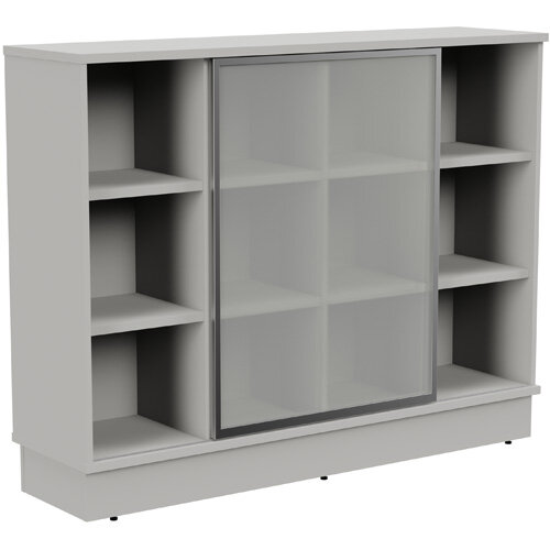 Grand Medium Cube Shelf Bookcase With Sliding Frosted Glass Door W1605xD420xH1255mm Grey