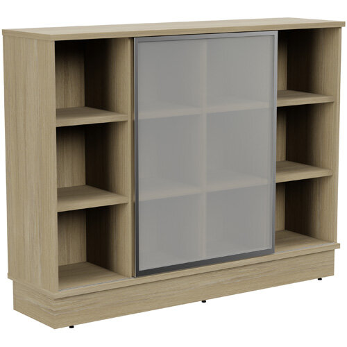 Grand Medium Cube Shelf Bookcase With Sliding Frosted Glass Door W1605xD420xH1255mm Urban Oak