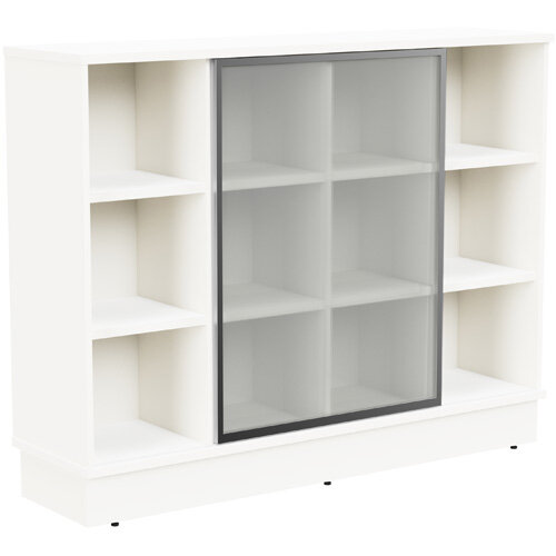 Grand Medium Cube Shelf Bookcase With Sliding Frosted Glass Door W1605xD420xH1255mm White