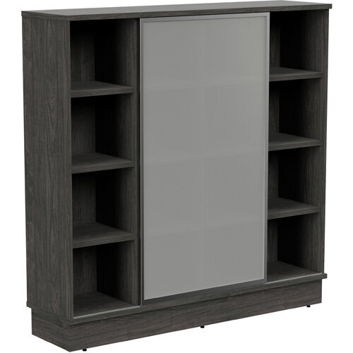Grand Tall Cube Shelf Bookcase With Sliding Frosted Glass Door W1605xD420xH1615mm Carbon Walnut