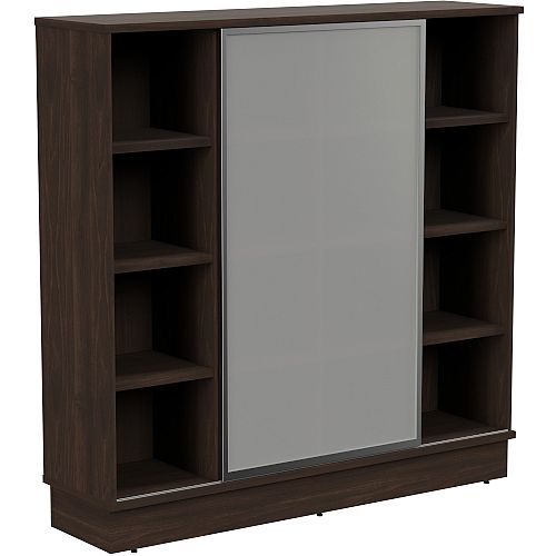 Grand Tall Cube Shelf Bookcase With Sliding Frosted Glass Door W1605xD420xH1615mm Dark Walnut