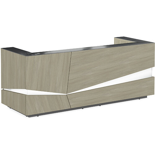 Illusion Modern Design Illuminated Arctic Oak Reception Desk with Anthracite Glass Counter Top W2800xD1000xH1100mm