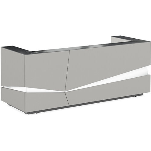 Illusion Modern Design Illuminated Grey Reception Desk with Anthracite Glass Counter Top W2800xD1000xH1100mm