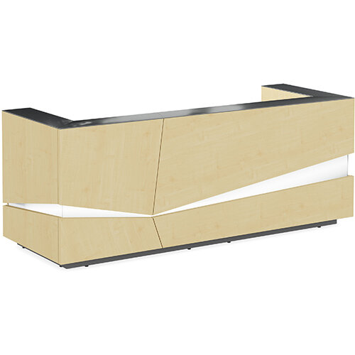 Illusion Modern Design Illuminated Maple Reception Desk with Anthracite Glass Counter Top W2800xD1000xH1100mm
