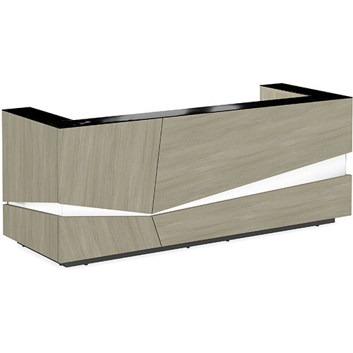 Illusion Modern Design Illuminated Arctic Oak Reception Desk with Black Glass Counter Top W2800xD1000xH1100mm