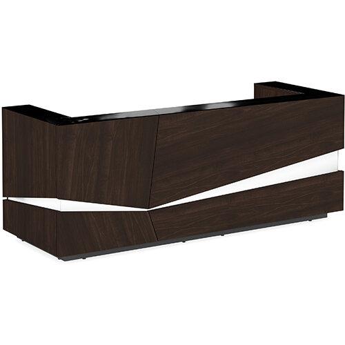 Illusion Modern Design Illuminated Dark Walnut Reception Desk with Black Glass Counter Top W2800xD1000xH1100mm