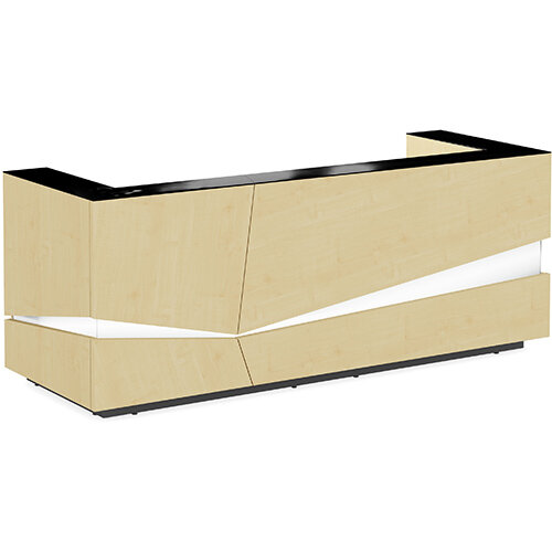 Illusion Modern Design Illuminated Maple Reception Desk with Black Glass Counter Top W2800xD1000xH1100mm
