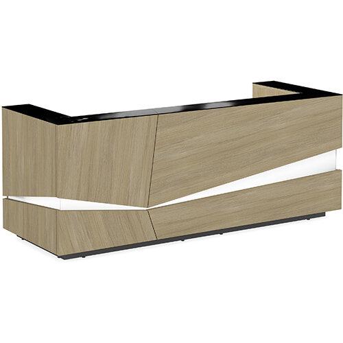 Illusion Modern Design Illuminated Urban Oak Reception Desk with Black Glass Counter Top W2800xD1000xH1100mm