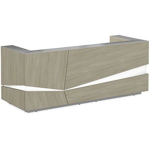 Illusion Modern Design Illuminated Arctic Oak Reception Desk with Silver Glass Counter Top W2800xD1000xH1100mm