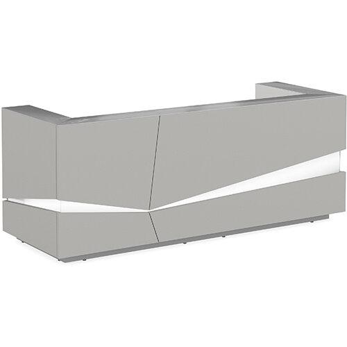 Illusion Modern Design Illuminated Grey Reception Desk with Silver Glass Counter Top W2800xD1000xH1100mm
