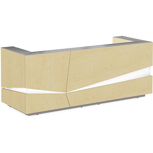 Illusion Modern Design Illuminated Maple Reception Desk with Silver Glass Counter Top W2800xD1000xH1100mm