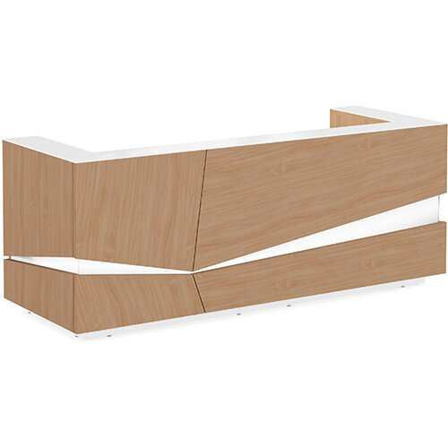 Illusion Modern Design Illuminated Beech Reception Desk with White Glass Counter Top W2800xD1000xH1100mm