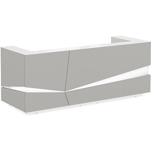 Illusion Modern Design Illuminated Grey Reception Desk with White Glass Counter Top W2800xD1000xH1100mm