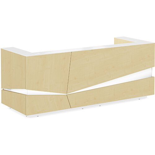 Illusion Modern Design Illuminated Maple Reception Desk with White Glass Counter Top W2800xD1000xH1100mm