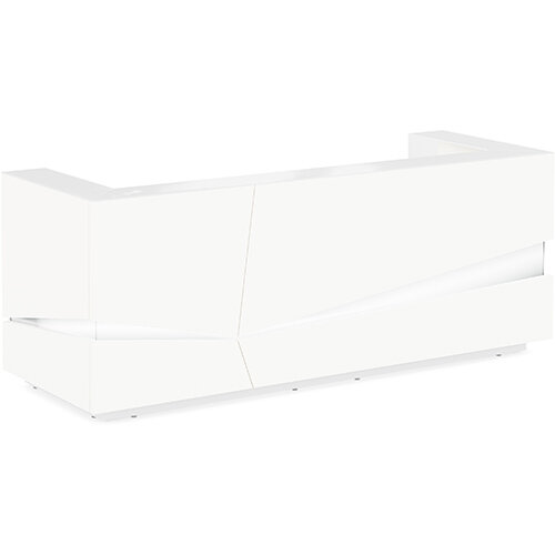 Illusion Modern Design Illuminated White Reception Desk with White Glass Counter Top W2800xD1000xH1100mm
