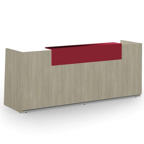 Libra Minimalist Design Arctic Oak Reception Desk With Red Acrylux Counter Top Panel W2600xD850xH1060mm