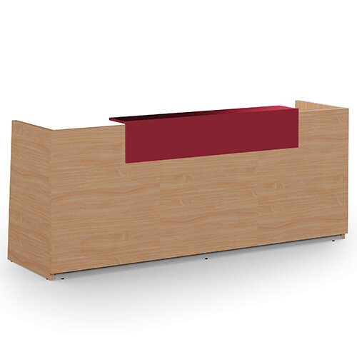 Libra Minimalist Design Beech Reception Desk With Red Acrylux Counter Top Panel W2600xD850xH1060mm