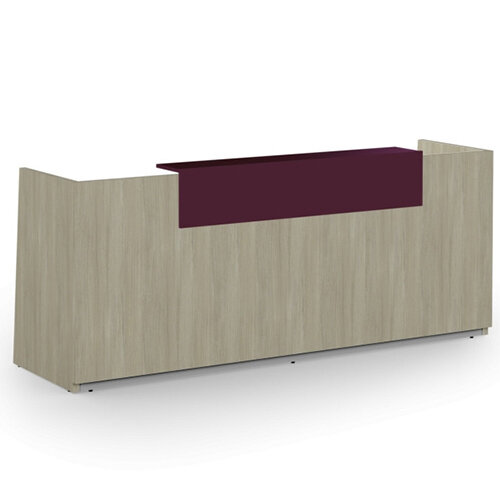 Libra Minimalist Design Arctic Oak Reception Desk With Purple Acrylux Counter Top Panel W2600xD850xH1060mm