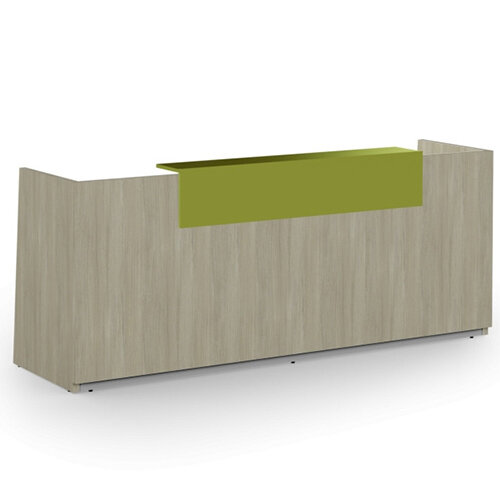 Libra Minimalist Design Arctic Oak Reception Desk With Green Acrylux Counter Top Panel W2600xD850xH1060mm