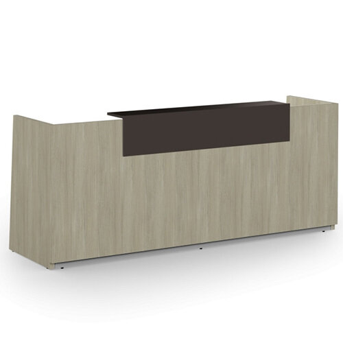 Libra Minimalist Design Arctic Oak Reception Desk With Dark Brown Acrylux Counter Top Panel W2600xD850xH1060mm