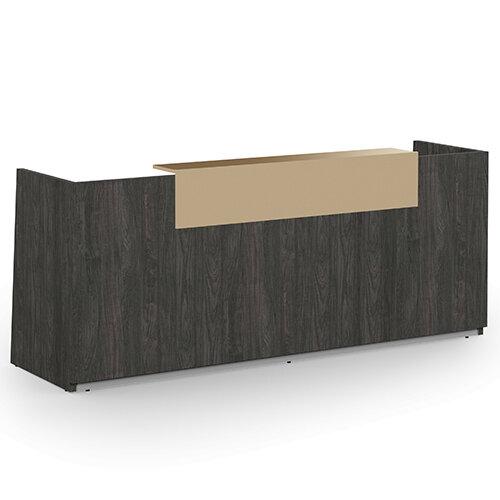Libra Minimalist Design Carbon Walnut Reception Desk With Cappuccino Acrylux Counter Top Panel W2600xD850xH1060mm