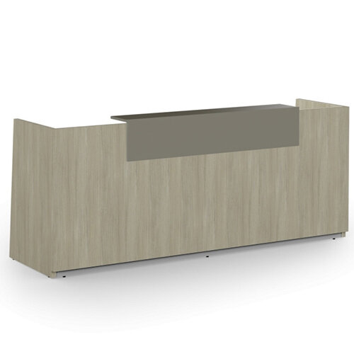 Libra Minimalist Design Arctic Oak Reception Desk With Grey Acrylux Counter Top Panel W2600xD850xH1060mm