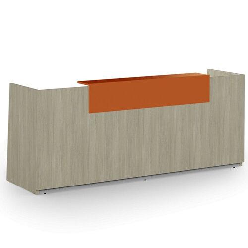 Libra Minimalist Design Arctic Oak Reception Desk With Orange Acrylux Counter Top Panel W2600xD850xH1060mm