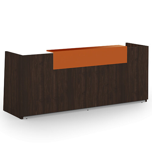 Libra Minimalist Design Dark Walnut Reception Desk With Orange Acrylux Counter Top Panel W2600xD850xH1060mm