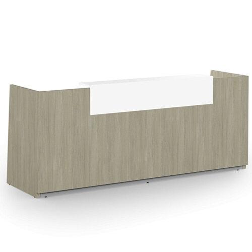 Libra Minimalist Design Arctic Oak Reception Desk With Icy White Acrylux Counter Top Panel W2600xD850xH1060mm