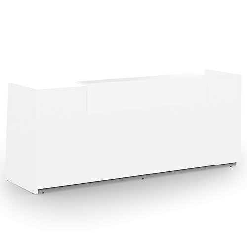 Libra Minimalist Design White Reception Desk With Icy White Acrylux Counter Top Panel W2600xD850xH1060mm