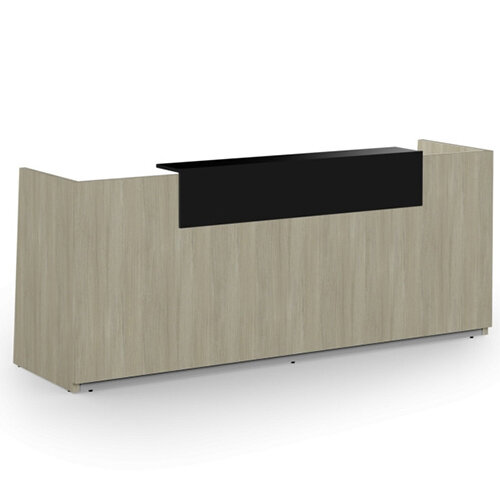 Libra Minimalist Design Arctic Oak Reception Desk With Black Acrylux Counter Top Panel W2600xD850xH1060mm