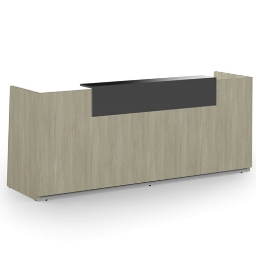 Libra Minimalist Design Arctic Oak Reception Desk With Dark Grey Acrylux Counter Top Panel W2600xD850xH1060mm
