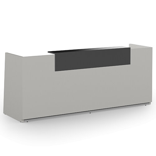 Libra Minimalist Design Grey Reception Desk With Dark Grey Acrylux Counter Top Panel W2600xD850xH1060mm